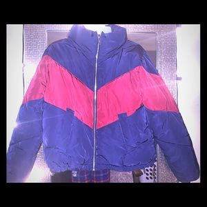 Women's navy blue and red puffer jacket
